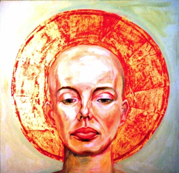 "Bald Lady $800 OIl on Canvas 20"" x 20"""