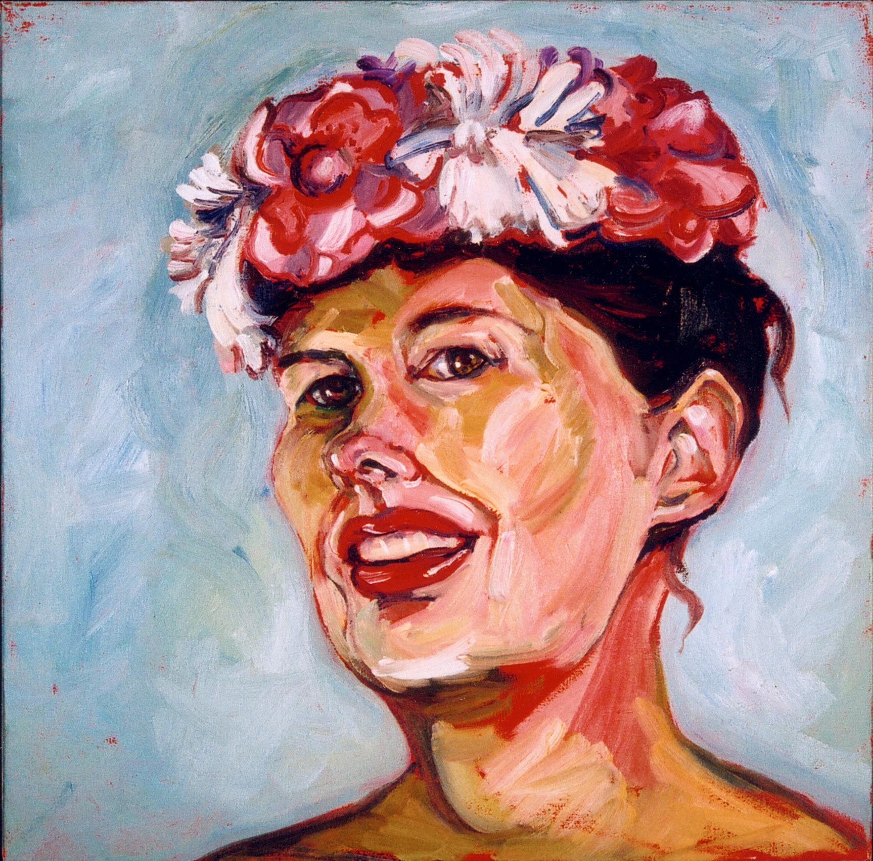"""Flowered Hat, $450, OIl on Canvas, 18 """" x 18"""""""