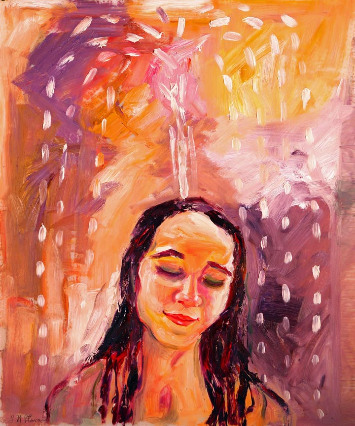 "Rain Poem Oil on Geofilm. 16"" x 20"" $600.00"